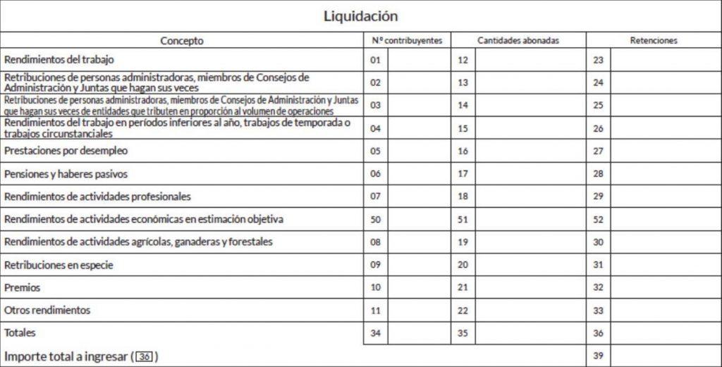 liquidación modelo 110